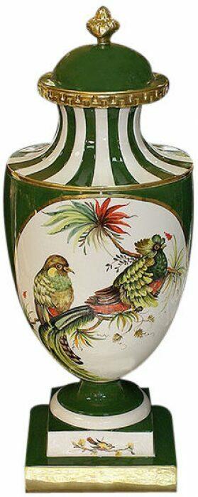 """Ваза с крышкой  Ceramiche Dal Pra """"Птицы""""  зеленая- 0"""