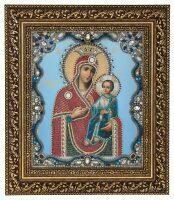 """Икона с камнями в окладе """"Пресвятая Богородица Иверская"""""""