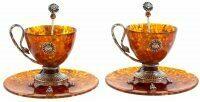 """Чайный набор из янтаря """"Лев"""" на 2 персоны"""