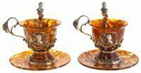 """Чайный набор из янтаря """"Екатерина"""" на 2 персоны"""
