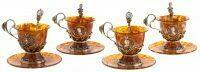 """Чайный набор из янтаря """"Великие правители"""" на 4 персоны"""