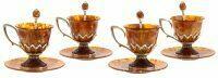 "Чайный набор из янтаря ""Императрица"" на 4 персоны, с жемчугом"