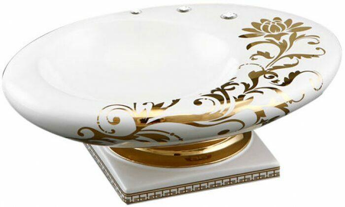 "Чаша на ножке  Ahura ""DIAMANTE"" , цвет: белый с золотом- 0"