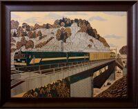 """Гравюра """"Поезд на мосту"""" (Златоуст)"""