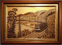 """Гравюра """"Поезд в лесу"""" (Златоуст)"""