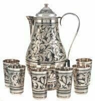 """Набор для воды из серебра на 6 персон """"Цветы"""" с кувшином"""