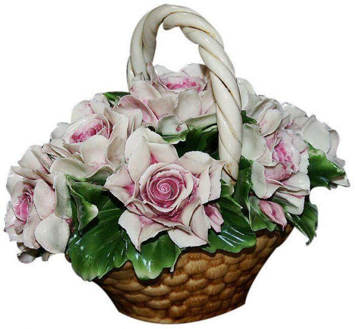 Декоративная корзинка с розовыми розами Artigiano Capodimonte- 0