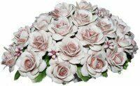 Декоративная корзина с розами, розовая Artigiano Capodimonte