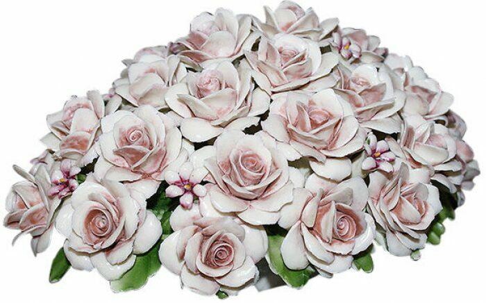 Декоративная корзина с розами, розовая Artigiano Capodimonte- 0