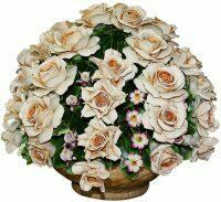 """Декоративная корзина  Artigiano Capodimonte """"Розы с мелкими садовыми цветами"""""""