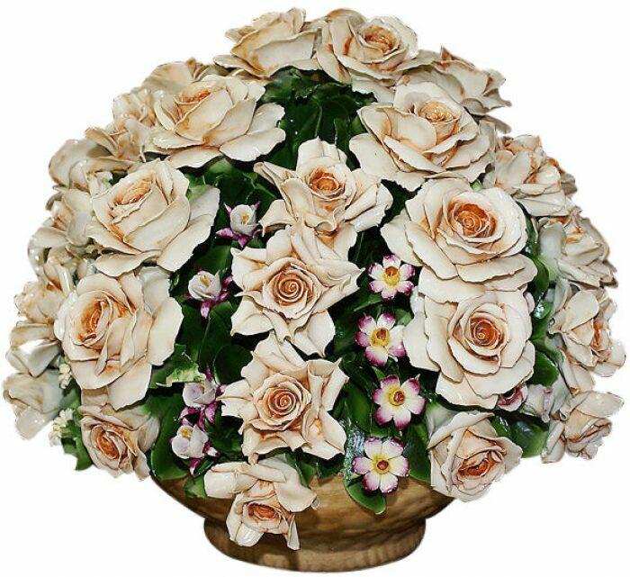 """Декоративная корзина  Artigiano Capodimonte """"Розы с мелкими садовыми цветами""""- 0"""