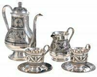 """Чайный сервиз из серебра """"Узорный"""" на 2 персоны"""