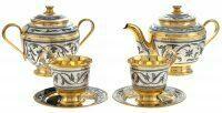 """Чайный сервиз из серебра """"Золотая осень"""" на 2 персоны"""