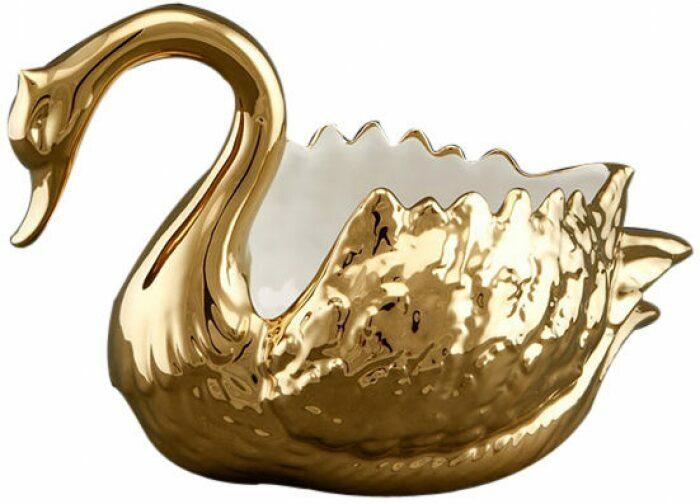 """Чаша для фруктов  Ahura """"Лебедь""""  золотого цвета- 0"""