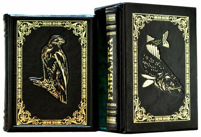 "Книги в кожаном переплете ""Охота и рыбалка"" Л.Сабанеев (2 тома, в футляре)- 0"