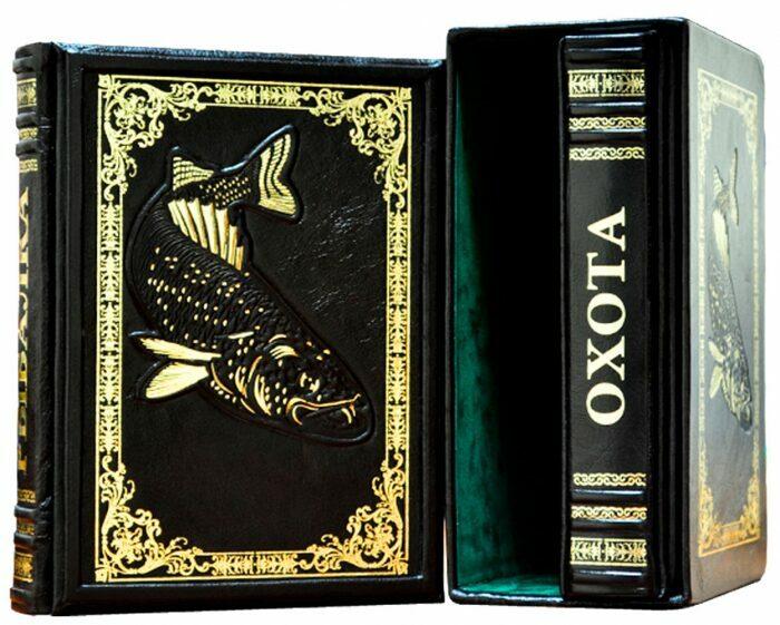 "Книги в кожаном переплете ""Охота и рыбалка"" Л.Сабанеев (2 тома, в футляре)- 1"