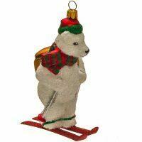 """Ёлочная игрушка """"Белый мишка на лыжах"""""""