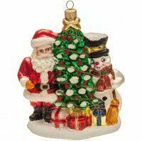 "Ёлочная игрушка ""Новогодняя ёлка, Дед Мороз и Снеговик"""