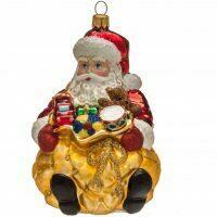 """Ёлочная игрушка """"Дед мороз с мешком подарков (сидит)"""""""