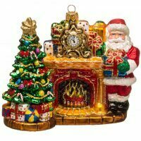 "Ёлочная игрушка ""Дед Мороз у камина"""