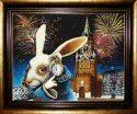 """Картина из янтаря """"Кремлевский кролик в стране чудес""""- 0"""
