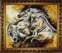 """Янтарная картина """"Лошади галопом"""""""