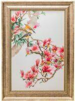 """Картина на шелке """"На цветущей магнолии"""""""