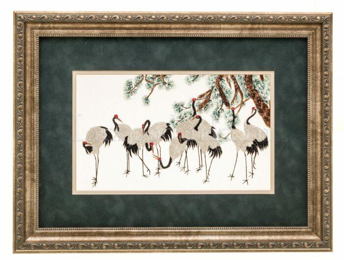"""Картина на шелке """"Десять журавлей под сосной""""- 0"""