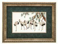 """Картина на шелке """"Десять журавлей под сосной"""""""