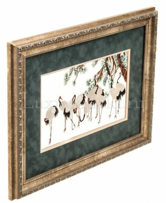 """Картина на шелке """"Десять журавлей под сосной""""- 1"""