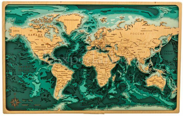 Объемная карта мира из дерева- 0