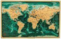 Объемная карта мира из дерева