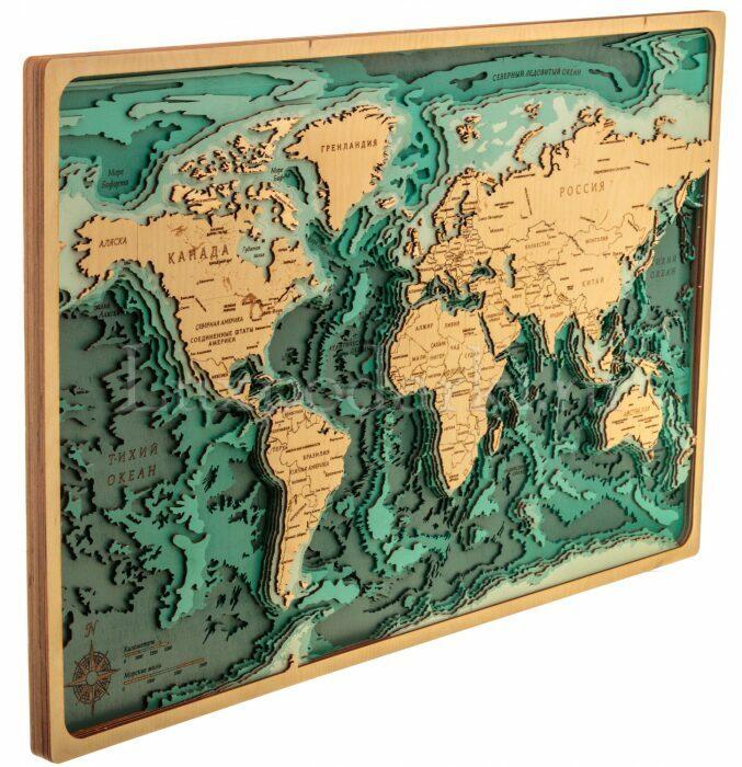 Объемная карта мира из дерева- 1