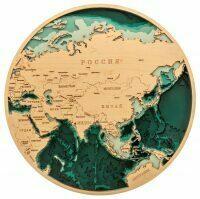 Объемная карта Евразии из дерева
