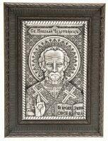 Икона серебряная Чудотворец Николай, классический багет