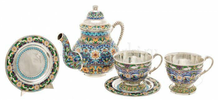 """Чайный набор """"Царский"""" на 2 персоны (финифть)- 1"""
