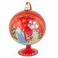 "Ёлочный шар на подставке ""Дед Мороз и Снегурочка"" палех"