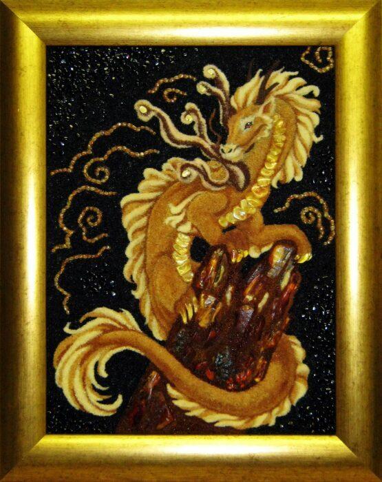 """Картина из янтаря """"Янтарный дракон""""- 0"""