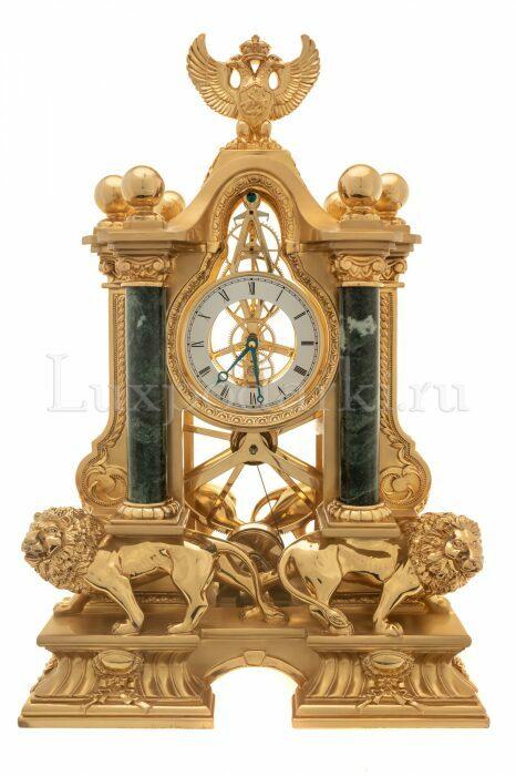"""Часы  Linea Argenti """"Львы"""" , механические, цвет: золотой с зелеными мраморными колоннами и гербом- 0"""