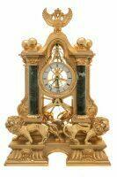"""Часы  Linea Argenti """"Львы"""" , механические, цвет: золотой с зелеными мраморными колоннами и гербом"""