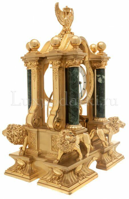 """Часы  Linea Argenti """"Львы"""" , механические, цвет: золотой с зелеными мраморными колоннами и гербом- 1"""