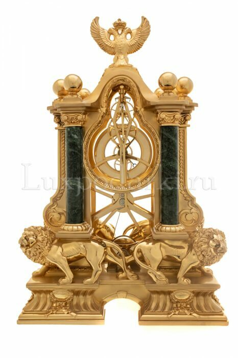 """Часы  Linea Argenti """"Львы"""" , механические, цвет: золотой с зелеными мраморными колоннами и гербом- 2"""