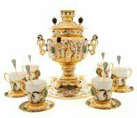 """Чайный набор с самоваром """"Радушный прием"""" на 6 персон (Златоуст)"""