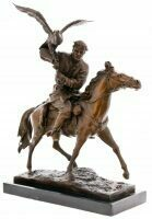 """Скульптура бронзовая """"Охота на коне с беркутом"""""""