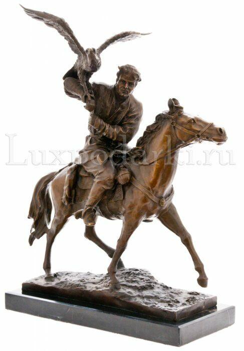 """Скульптура бронзовая """"Охота на коне с беркутом""""- 0"""