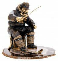 """Скульптура бронзовая """"Зимняя рыбалка"""""""