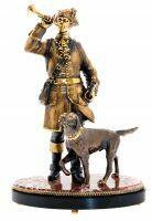 """Скульптура """"Охотник с собакой"""" на яшме"""