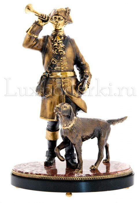 """Скульптура бронзовая """"Охотник с собакой"""" на яшме- 0"""