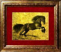 """Картина на сусальном золоте """"Лошадь"""""""