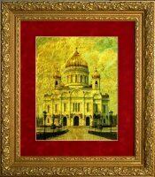 "Картина на сусальном золоте ""Храм Христа Спасителя"""